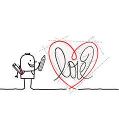 Cartoon designer drawing a new graphic heart vector