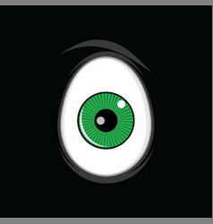 Cartoon funny green eyes for comics design art vector