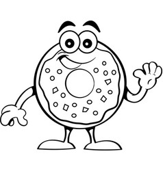cartoon happy donut waving vector image