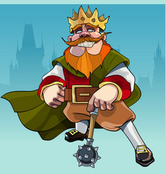 cartoon king with a mace in the background of the vector image