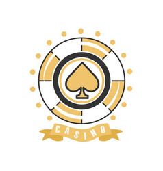 Casino logo vintage gambling badge or emblem vector