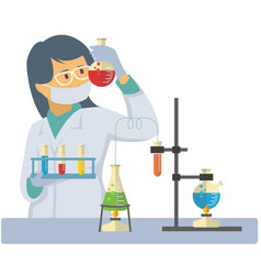 chemist measuring chemical liquid with test tubes vector image