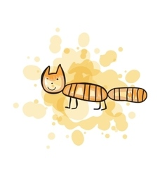 Child s drawn colorful cat vector