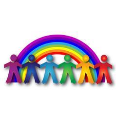 Children teamwork with a rainbow logo image vector