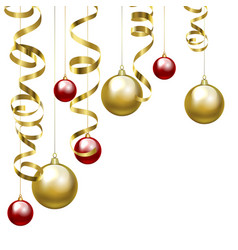 Christmas baubles and golden serpentine vector