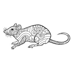 coloring page with doodle style rat in zentangle vector image
