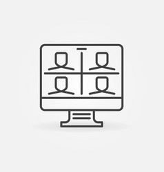 Computer video conference outline concept vector
