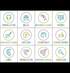 customer support service color outline icon set vector image