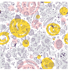 cute forest elements seamless pattern vector image