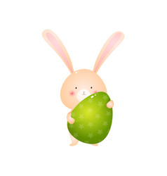 cute rabbit holding big green easter egg isolated vector image