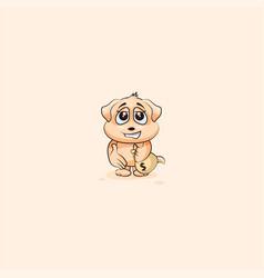Dog cub sticker emoticon extend hand offer deal vector