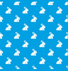 easter bunny pattern seamless blue vector image