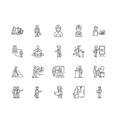 employment agency line icons signs set vector image