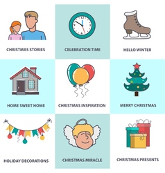 Flat Christmas icons vector