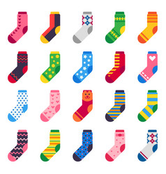 flat socks long sock for child feet elastic vector image