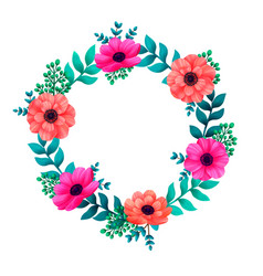 Floral circle frame tropical flowers trendy vector