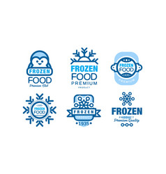 frozen food premium club labels collection vector image