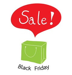 Green shopping bag with word sale for black Friday vector
