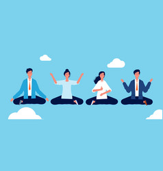 group yoga people relaxing and meditation in vector image