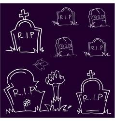 Halloween tomb doodle art vector