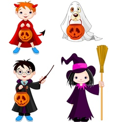 Halloween trick or treating children vector