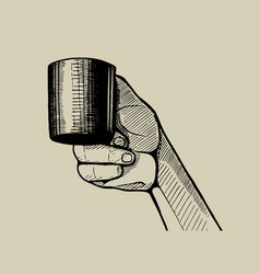 hand holding a little cup hand drawn vector image