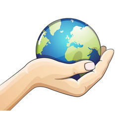 Hand holding the earth globe earth day concept vector
