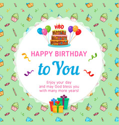 happy birthday card template with birthday cake vector image