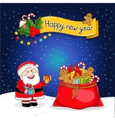 Happy New Year greeting card with Santa Claus vector