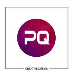 initial letter pq logo template design vector image