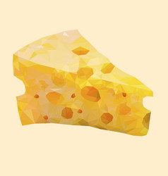 Isolated low poly cheese on white backgroundfood vector