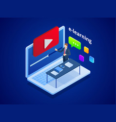 isometric online video training or tutorial e vector image