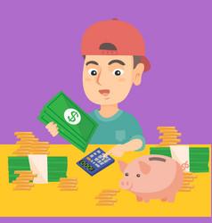 Little caucasian boy counting money vector
