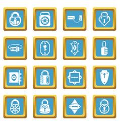 lock door types icons set sapphirine square vector image