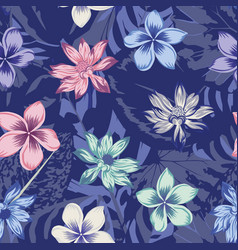 lotus plumeria seamless abstract blue background vector image