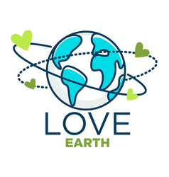 love earth isolated icon planet protection vector image