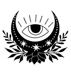 magic black moon with stars eye and lotus vector image