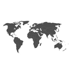 Map of world in grey with white borders vector