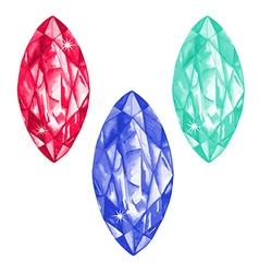Marquis cut watercolour gems set vector image
