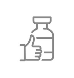 Medical ampoule with thumb up line icon vaccine vector