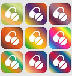 Medical pill icon sign Nine buttons with bright vector image