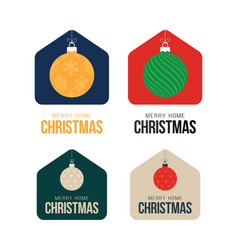 Merry home christmas 2020 card with funny vector