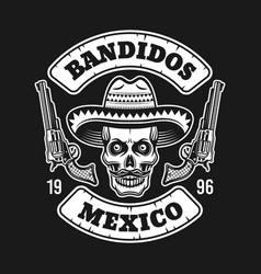 Mexican bandit skull in sombrero emblem on dark vector