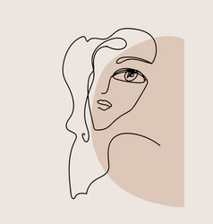 minimalist one line female portrait interior art vector image