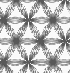 Monochrome linear striped six pedal flowers vector