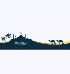 mosque and camel scene ramadan kareem banner vector image
