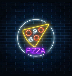 Neon glowing sign of pizza in circle frame on a vector