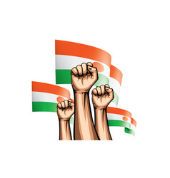 Niger flag and hand on white background vector