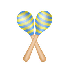 pair of maracas in blue and yellow design vector image