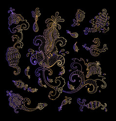 paisley ethnic ornament vintage set vector image